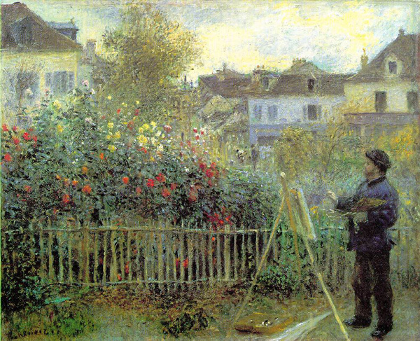 Monet painting in his garden in Argenteuil as painted by Renoir